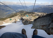 Going down whistler mountain on chairlift Royalty Free Stock Photo