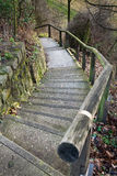 Going downstairs. A footpath with steps leading down Stock Images