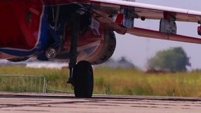 Going engines fighter on airshow stock footage