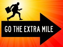 Going extra mile. Going the extra mile and getting your goals stock illustration