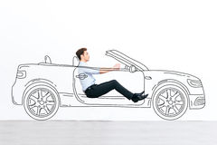 Going far away!. Handsome young man driving drawn car against white background stock photography