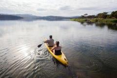 Going Fishing Canoe Girl Boy Dam Royalty Free Stock Images