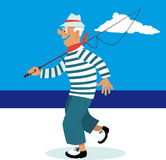 Going fishing. Senior man in a sailor shirt and with a fishing rod going fishing, EPS 8 vector illustration Royalty Free Stock Photos