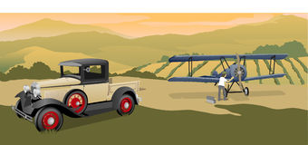 Going Flying. Illustration of a man getting his vintage bi-plane ready for flying Stock Photo