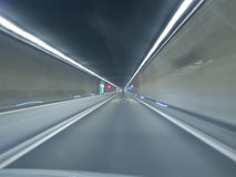 Going through Gotthard tunnel Stock Photo
