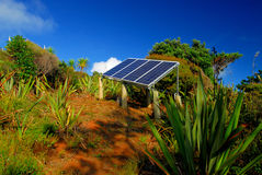 Going Green. Solar Power panels in the landscape stock photos