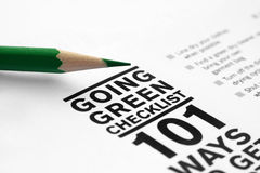 Going green checklist royalty free stock photography