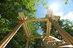 Going green: wood construction Royalty Free Stock Photo