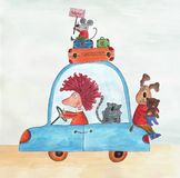Going on holiday. Artistic work. Watercolors on paper Stock Photos