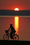 Going home. Cyclist in the sunset Stock Photography