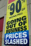 Going out of Business. Sign of the Time - Going out of Business sign with Prices Slashed and 90 percent off Stock Photos