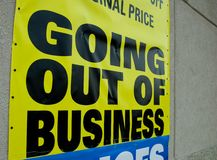 Going out of Business. Sign of the times. Economic Downturn royalty free stock image