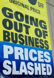 Going out of Business. Sign of the times. Economic Downturn Royalty Free Stock Photos