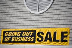 Going Out Of Business. Sad sign on the outside of a new store Stock Images