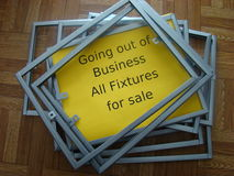 Going out of business. Sign and fixtures Royalty Free Stock Photography