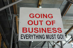 Going Out of Business. A sign outside a store in Midtown Manhattan, which reads Going Out of Business Everything Must Go Stock Photography