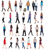 Going people in motion set. Collection  back view of walking people . going people in motion set.  backside view of person.  Rear view people collection Royalty Free Stock Photo