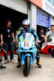 Going practice. Jimmy Chan from Hong Kong is leaving the garage for practice before the start of the race in ZIC Superbike of 2009 Pan Delta Super Racing Royalty Free Stock Photo