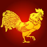 Going rooster gold on red background Royalty Free Stock Photos