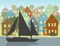 Going Sailing. Illustration of a seaside village with a sail boat passing by Royalty Free Stock Image