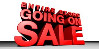 Going On Sale. CGI of Towering 3-Dimentional Text that reads Entire Store Going On Sale Royalty Free Stock Photography