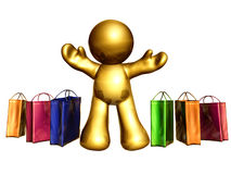 Going shopping. Funny  icon figure going shopping to the mall Royalty Free Stock Image