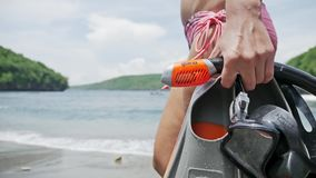 Going Snorkeling Equipment Water Underwater Girl Slowmotion. Close-up of snorkeling equipment, carried by a girl. Slowmotion footage stock video