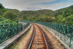 Going somewhere. Trainrailtrack in Ardeche, France. Taken in train Stock Photography