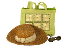 Going to the beach. Beach items isolated on white Stock Photography
