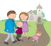Going to church. Hand drawn picture of family going to church. Illustrated in a loose style. Vector eps available Royalty Free Stock Photo