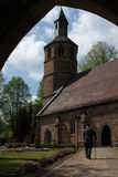 Going to Church. A very old man on his way to pray in his parish church in the Palatinate area of Germany Stock Image