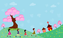 Going to church. Happy children going to church -vector illustrations Stock Image