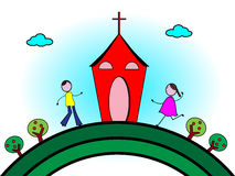Going to church. Vector illustration of happy children go to Church Royalty Free Stock Photos