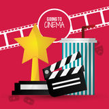 Going to cinema film clapper strip award soda with straw. Vector illustration eps 10 Royalty Free Stock Photography