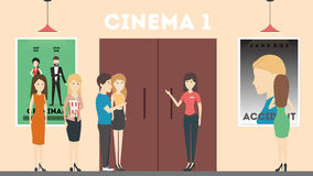 Going to cinema. People with popcorn are going to watch the film in cinema hall. Room with movie posters stock illustration