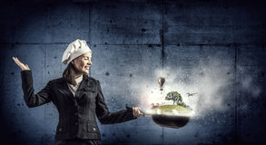 She is going to cook her idea  . Mixed media Royalty Free Stock Images