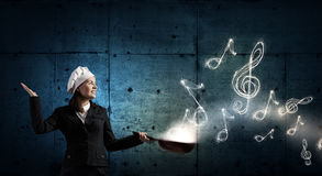 She is going to cook her idea . Mixed media Royalty Free Stock Photos