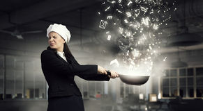 She is going to cook her idea . Mixed media Royalty Free Stock Photo