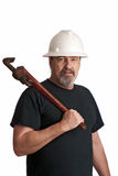 Going to fix the broken water pipes stock photos