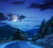 Going to forest in mountains at night Royalty Free Stock Image