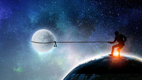 He Is Going To Get The Moon Young Businessman Catching With Rope Mixed