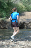 Going to get wet. Women jogging royalty free stock photos