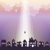Going to Heaven. Vectpr illustration of a silhouette of a child lifted up to heaven Stock Image