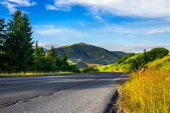Going to hight mountains. Asphalt road going to high mountains down the hill and passes through the green shaded forest at sunrise royalty free stock image