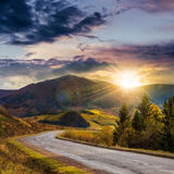 Going to mountains at sunset Royalty Free Stock Photography