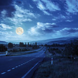 Going to nature mountains at night Stock Image