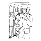 Going to prison. Illustration of a man forced to go to prison by a police officer, black and white version. Useful also for educational or coloring books for Royalty Free Stock Photography