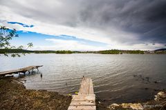 The lake before the storm. Going to rain soon. The lake is preparing to storm Stock Photo