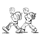 Going to school. Illustration of two boys going to school Royalty Free Stock Photo
