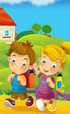 Going to school - illustration for the children Royalty Free Stock Photo
